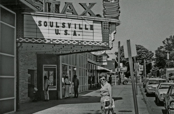 Estelle Axton in front of Stax