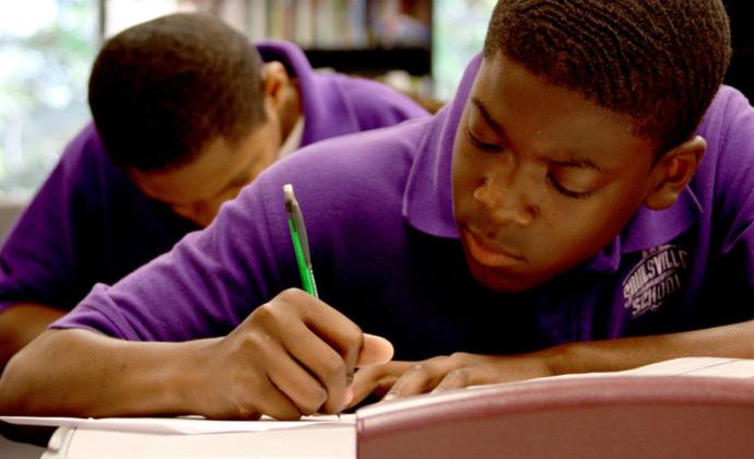 Soulsville School student doing homework